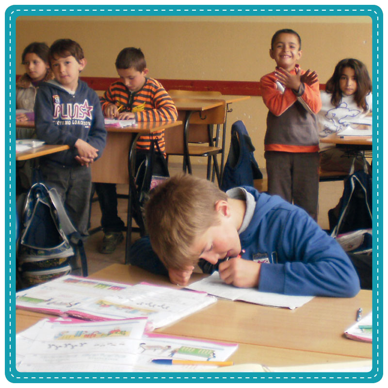 Young children in a school classroom