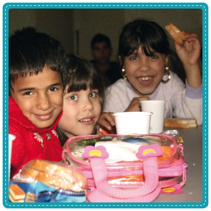 Children eating snacks at school