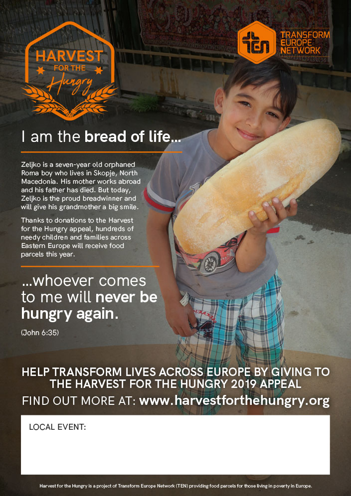 Harvest For The Hungry 2018 Poster: Suffer the little chidren to come to me. Matthew 19 v14